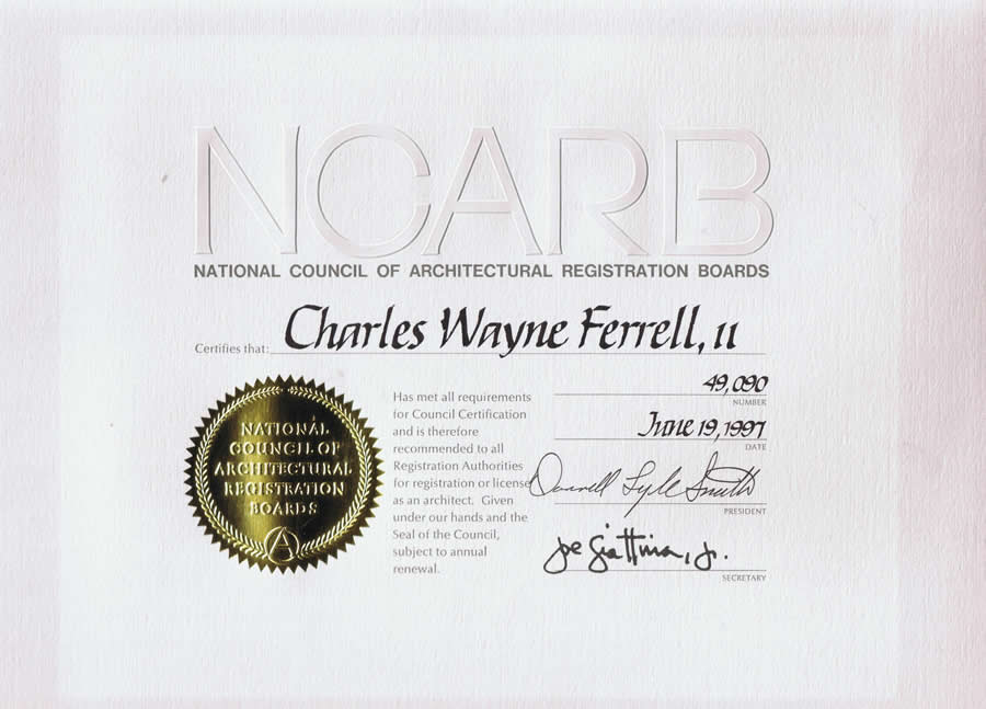 Wayne ferrell architecture for Ncarb